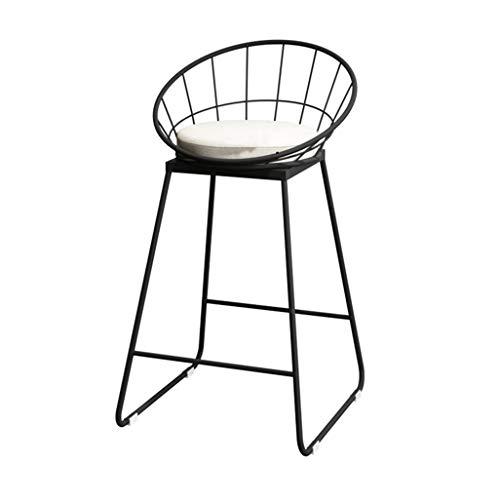 Tabouret de Bar Chaise de tabourets industriels avec Dossier Chaises de siège de Coussin de Coussin Rond pour Cuisine   Pub   Tabouret de Bar Café Bar Noir Pieds en métal Hauteur d'assise: 65cm