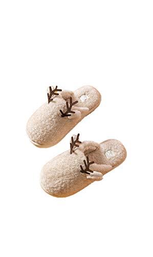 Ling Fengfeiyang Zapatos de casa para interiores de felpa, zapatillas de espuma cómodas, zapatillas de algodón antideslizantes para el hogar. Pantuflas de suela gruesa para interiores-B_37-38