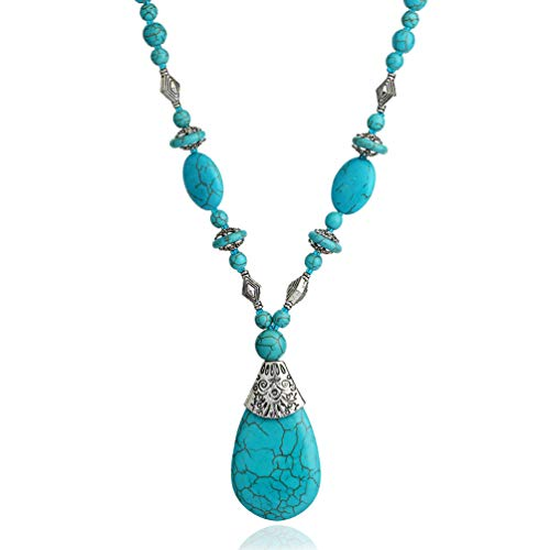 Bluegoog Prime Amazon Day Deals Sale 2020-Boho Turquoise Long Beaded Necklace for Women Vintage Ethnic Alloy Pendant Jewelry (Turquoise Long Necklace)