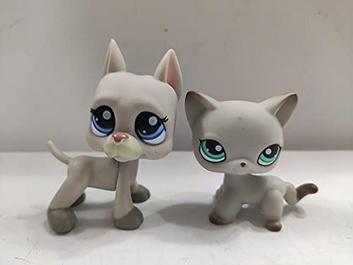 2 pcs/Set Littlest Pet Shop Short Hair Cat Great Dane Dog LPS Animal Figure Toys