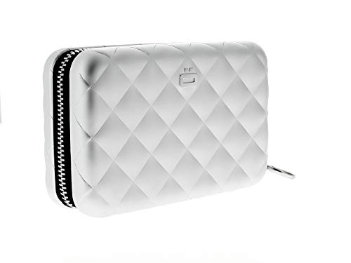 Ögon Smart Wallets - Quilted Zipper Wallet - RFID Protection : Protects Your Cards from Stealing - Up to 24 Cards + receits + Notes + Coins - Anodised Aluminium (Silver)