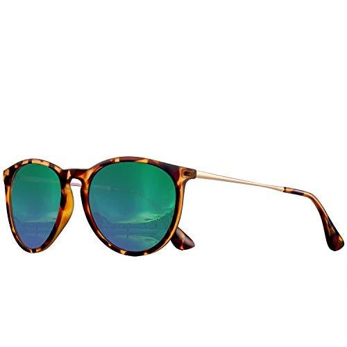 FEIDU Halbrahmen Polarisierte Klassische Metall Sonnenbrillen Herren-Retro Polarisierte Sonnenbrille Damen (ZZ-grün2.1, 2.04)