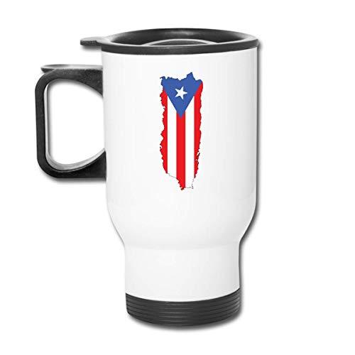 Puerto Rico Vlag Koffie/Thee/Kar Mokken Bekers Tumbler Office Personeel Geïsoleerde Travel Auto Spill Proof Flip Deksel Wit Gemakkelijk te Houd Handvat 450ml