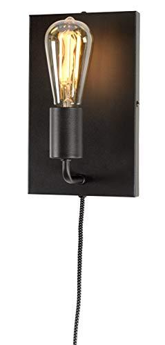 it's about RoMi MADRID Wandleuchte mit Stecker und Schalter, Wandlampe für LED und Glühbirne, E27 (Schwarz)