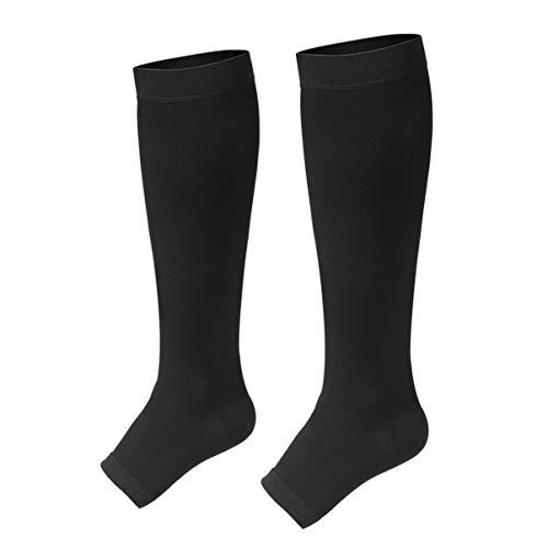Healifty medias de compresión médica hasta la rodilla medias para correr atlético venas varicosas viaje 1 par (negro)