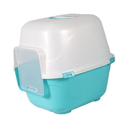 Bandeja higiénica cubierta para gatos Nobleza, color azul con trampilla de...