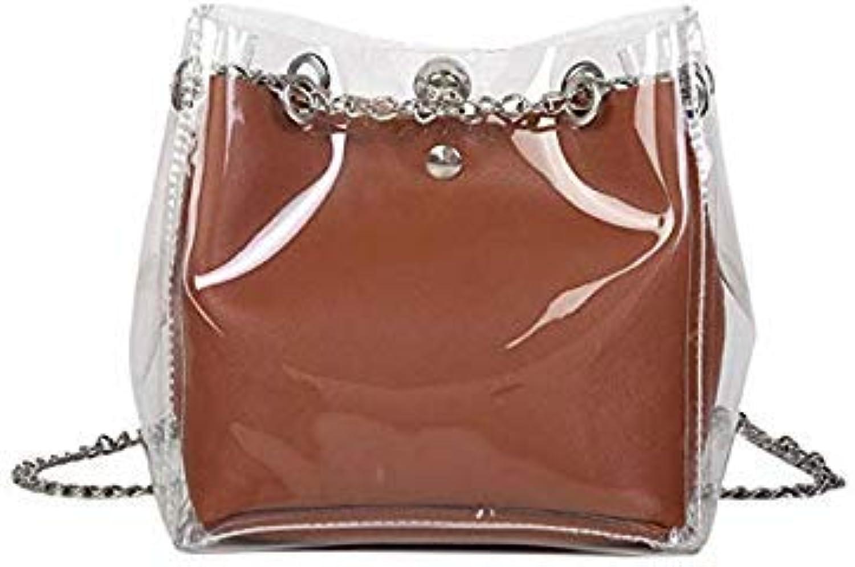 Bloomerang THINKTHENDO Transparent Stylish PVC Purse Clear Handbag Tote Shoulder Crossbody Bags Fashion color Brown
