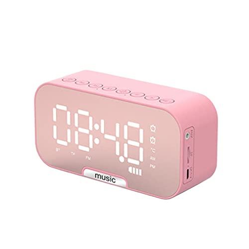 Greatangle-UK Altoparlante Wireless Scheda Portatile Audio Piccolo Allarme Domestico Orologio 1400mAh Regolazione del Volume Display a LED Orologio Durevole Rosa