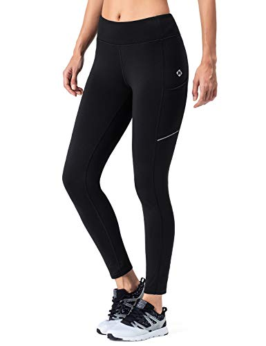 NAVISKIN Damen Laufhose Warm Lang Leggings Atmungsaktiv Trainingshose Thermo - Lauftight Winter Schwarz Größe L