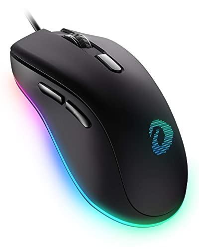 DAREU Wired Gaming Mouse, 6 Programmable Buttons, Ergonomic RGB Gaming Mouse with 16.8 Million Chroma 7 Backlit for PC, Laptop, and Notebook (Renewed)