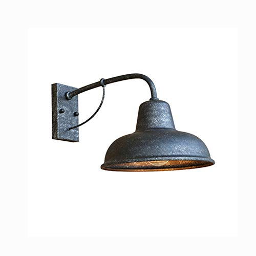 Retro Industrie Wandleuchten Aussen Innen Wandlampe Vintage E27 Wandlichter Metall Schatten Außenlampe für Außen Garten Loft Balkon Flurbereich Antik Matt-Silber,40 * 23 * 26CM IP44