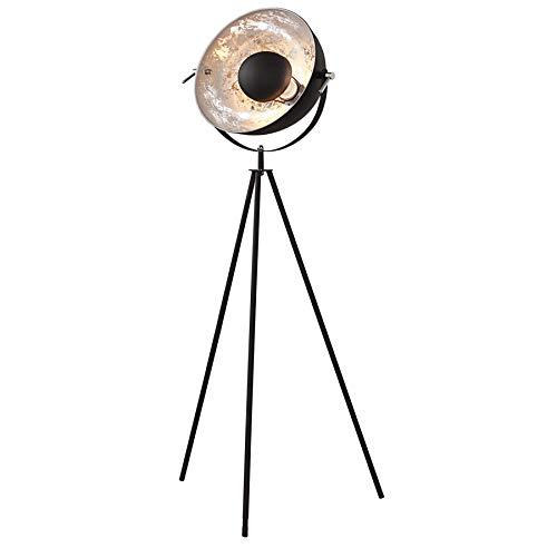 Moderne Design Stehlampe STUDIO schwarz Blattsilber Optik 145cm Stehleuchte Lampe