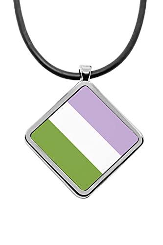 Collar con colgante de banderas de orgullo con forma de diamante transgénero bisexuales lesbianas polisexuales pansexuales M