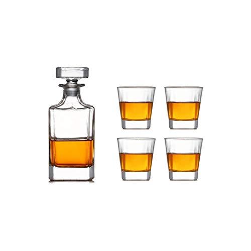 Decantador de vino de cristal hecho a mano, El decantador de whisky y el conjunto de vidrio de Whisky de Carina de 5 piezas, 100% de la barra de cristal prefieren que el escocés, el licor, Bourbon vie