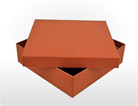 Caja de regalo rígida de cartón 16,5 cm x 16,5 cm x 4,8 cm con tapas, juego de 8 cajas de cartón rígido, cuadrado, negro, terracota, lila, suero de leche, frambuesa o