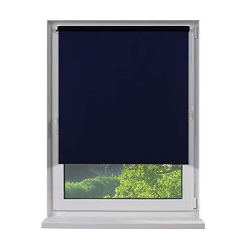 Fensterdecor Klemmfix Mini Verdunkelungs-Rollo, Thermo-Rollo inkl. Klemm-Träger, Sonnenschutz-Rollo ohne Bohren in Blau, mit Hitze- und Kälte-Schutz, 100 x 160 cm