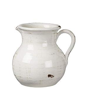 Silk Flower Arrangements Sullivans White Ceramic Vase, Distressed White Pitcher for Rustic Home Decor, 8 x 9 Inches (CM2515)