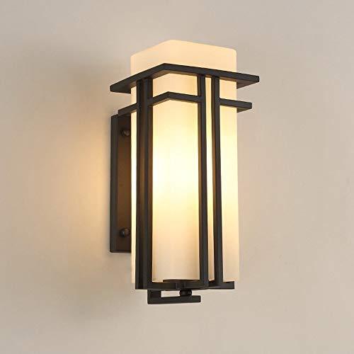 PSOU Wandlamp - Modern en minimalistisch van ijzeren wandlamp buiten melkglas wit lampenkap waterdicht E27 wandbescherming bescherming wandbescherming terras balkon treeplanken