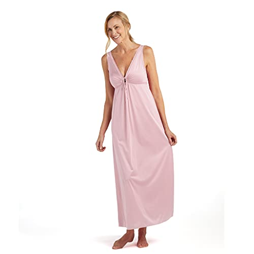 Miss Elaine Nightgown - Women's Silky Fitted Long Gown, Vintage Style, with a Deep V-Neckline (Large, Pink)