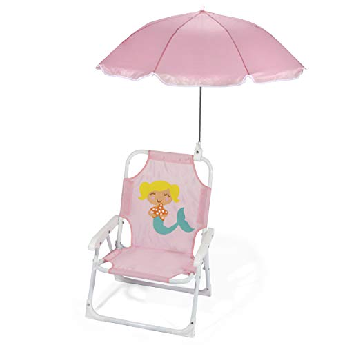 Heritage Kids Outdoor Beach Lounge Chair for Kids with Clip on Umbrella, Pink Mermaid