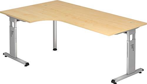 bümö® Stabiler Schreibtisch höhenverstellbar 200 x 120 cm | Eckschreibtisch in Ahorn | Büroschreibtisch mit Höheneinstellung | Tisch für Büro | Bürotisch in 9 Größen & 7 Dekoren