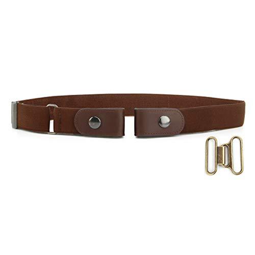 """Cinturón sin hebilla de los hombres de las mujeres Cómodo No Hebilla Cinturones elásticos Pantalones vaqueros Cinturones invisibles Cinturones ajustables Se ajusta a 24 """"a 38"""" (Marron Oscuro)"""