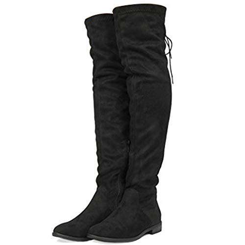 DREAM PAIRS Women's Uplace Black Suede Over The Knee Thigh High Winter Boots Size 10 M US