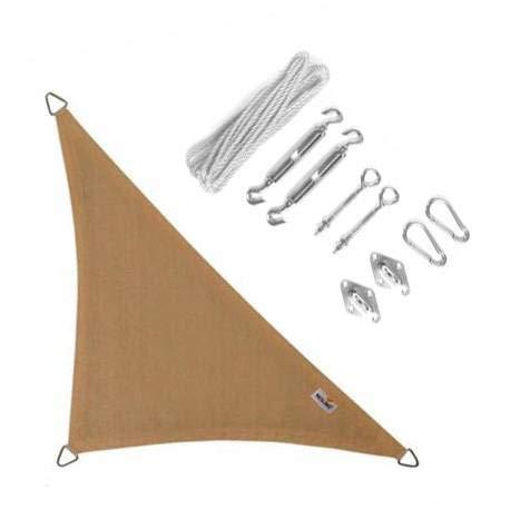 Nesling Compleet Pakket Coolfit Sonnensegel, wasserdicht, 90 Grad, dreieckig, 4 x 4 x 5,7 cm, Marraine, Sand setzt Een RVS Bevestigingsset | 285 g/m²