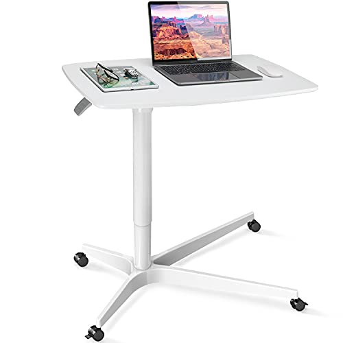Mobile Standing Desk Height Adjustable Sit to Stand Table, 30 inches Pneumatic Laptop Desk with Gas Spring Riser, Overbed Table with Wheels for Offices, Home, Medical and School by HUANUO