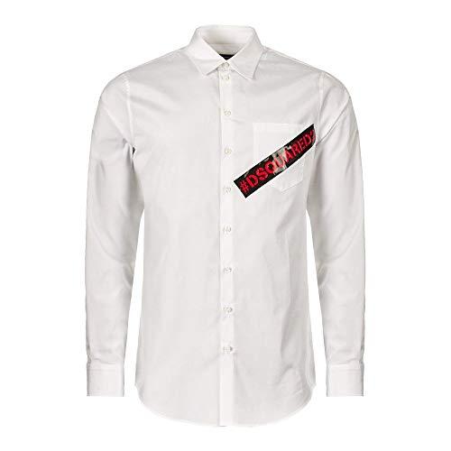 DSQUARED2 S74DM0231 Herren Men Hemd Shirt Langarm Slim Fit Weiß White (IT-44 EU-XS)