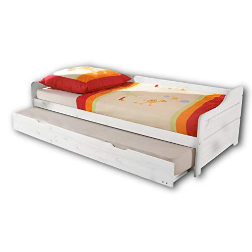BONNIE Moderne Tandemliege mit zwei Liegeflächen 90 x 200 cm - Praktisches Jugendzimmer Kojenbett aus Kiefer Massivholz, Weiß - 97 x 60 x 204 cm (B/H/T)