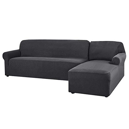 CHUN YI Stretch Sectional L-Shaped Sofa Slipcovers with Elastic Bottom