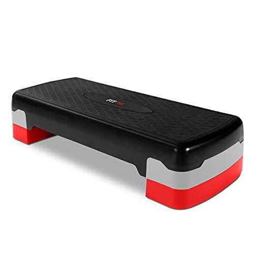 FITFIU Fitness PS-150 - Plataforma Step regulable en 2 alturas, base antideslizante, ejercicio cardio, aerobic y fitness en casa, peso máx. usuario 120kg