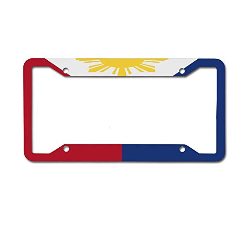 PoppyAnthony Flag of The Philippines Licence Plate Frame Aluminum License Plate Cover for US Canada 4 Hole and Screw