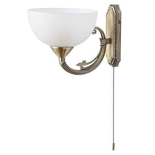 MW-Light 318020801 Klassische Wandlampe mit Schalter in Messing Weißer Glasschirm 2 Flammig E27 x 60W 230V