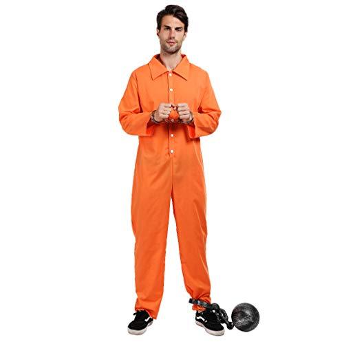 EraSpooky Herren Gefangener Kostüm Sträfling Faschingskostüme Cosplay Halloween Party Karneval Fastnacht Kleidung für Erwachsene