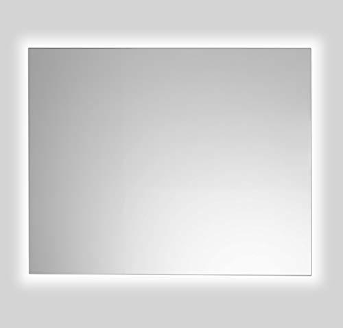 Espejo de Baño Lux de 80x100 Horizontal con Luz Led Blanca Perimetral de 5700K Decorativa Indirecta Incorporada sobre el Marco Interior y Lámina Antivaho de Fácil Instalación