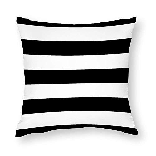 Aafndgsa - Fundas de cojín con diseño de rayas en blanco y negro (45 x 45 cm, algodón con cremallera, funda de almohada para cojines de sofá
