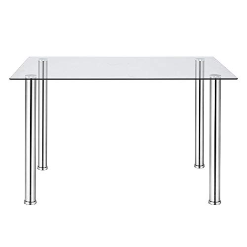 jeffordoutlet Modern Glass Dining Rectangle Table with Chromed Legs,Kitchen Dining Room Furniture