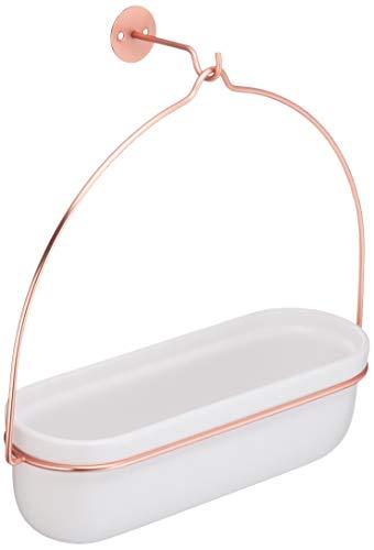 Amazon Basics - Macetero colgante, ovalado, blanco/cobre