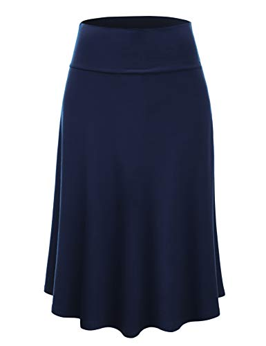 Lock and Love LL WB1105 Womens Lightweight Fold Over Flared Midi Skirt XL Navy