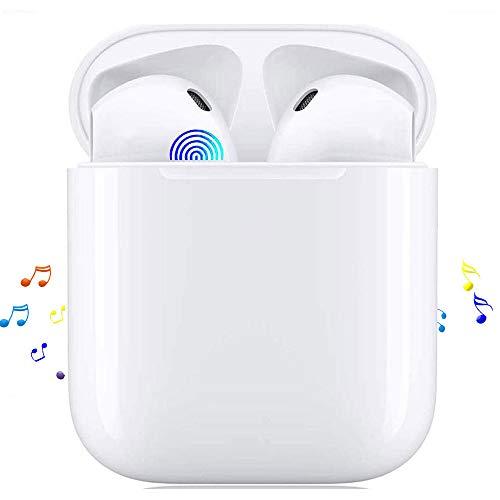 Auriculares Bluetooth TWS i12 Sonido Estéreo 3D Control Tactil Pop-Ups Auto Pairing 24 Horas de Juego Carga Rapida IPX7 Impermeable Auriculares Inalámbricos para Deporte y Música Blanco
