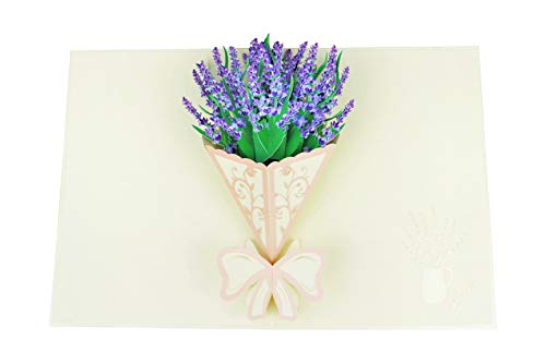 3D Blumenkarte – Lavendel Blumenstrauß – XXL Pop-Up Geschenkkarte zum Geburtstag, Jubiläum, Jahrestag, zur Pensionierung, für Frauen & Männer