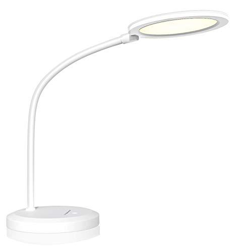 Aigostar - Lámpara de escritorio LED con protección ocular, Ra≥95, 7,5W, luz natural 4000K. Flexo LED con brazo flexible 90 °, brillo ajustable, control táctil, nivel luz azul RG0. Color blanco.