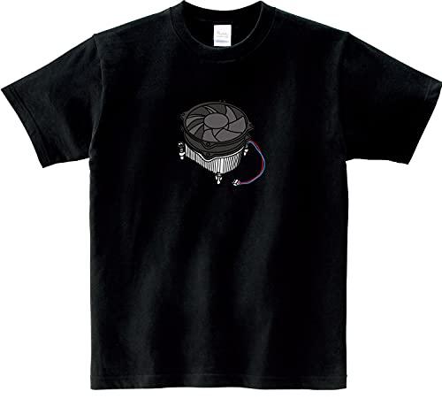 MKJP おもしろおしゃれTシャツ 半袖 パソコンシリーズ 生地:ブラック CPUファン サイズ:XL