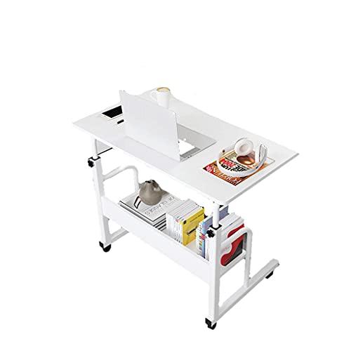 Escritorio portátil con ruedas para ordenador portátil, mesa auxiliar ajustable, pequeña bandeja para sofá, mesita de noche, 80 x 40 cm, bandeja de comida