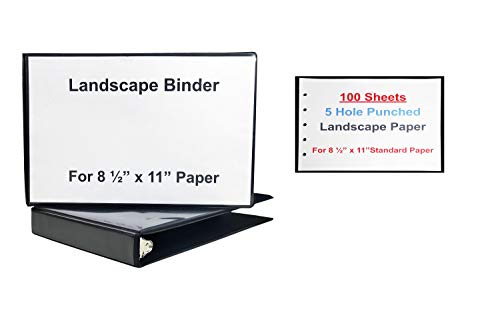 Landscape Binder Horizontally Formatted One Inch Ring Size,13 ½-Inch Wide, Includes 100 sheets of Landscape Paper 5 Hole Punched, Black Vinyl.