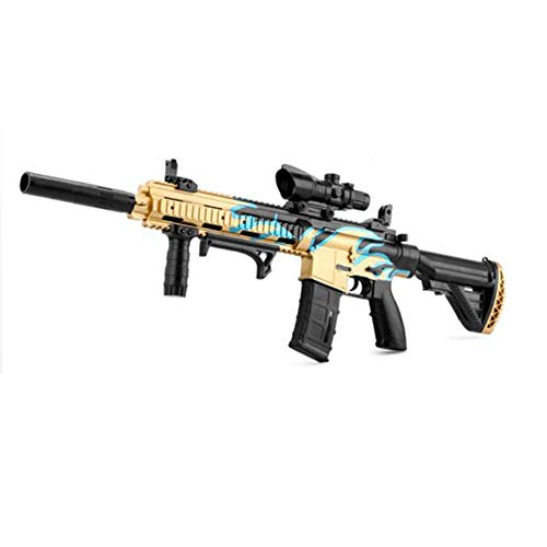 AUZZO HOME M416 Balas de Agua infrarrojas Pistola de Juguete para niños Manual eléctrico Doble Modo de conmutación Pistola de Agua Niños Rifle de Francotirador Al Aire Libre CS Shooting Toys,Oro