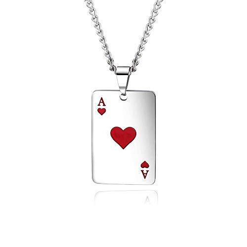 BlackAmazement Halskette mit Anhänger Edelstahl Pik Herz Ass Spielkarte Zocker Lucky Poker Silber Damen Herren (Modell - Herz Ass)