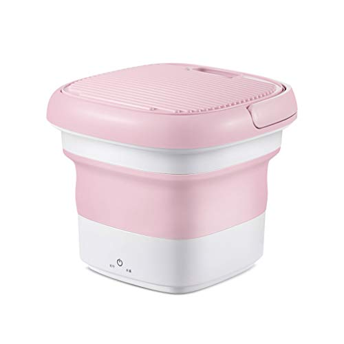 Lmx+3f ♥ Mini Washing Machine Compact Counter Top Washer,Foldable Bucket Type Laundry Clothes Washer Cleaner Travel (Pink, 1PC)